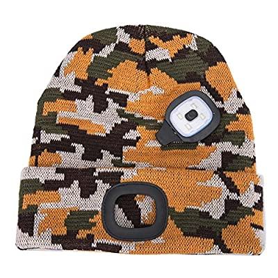 YJWB 4 LED Lighted Beanie Cap Winter Warm Hunting Hat for Night Outdoor Fishing Hiking Camping,LED Cap,USB Rechargeable LED Beanie Cap