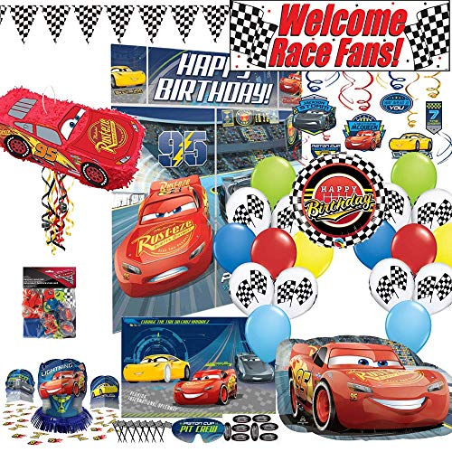 (Birthday Party Set :: Ya Otta Lightning McQueen Cars Pinata bundled with Cars Party Supplies, Favors and an eBook on Kids Birthday Party Games)