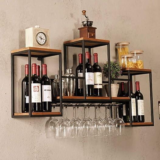 Industrial Wall Mounted Loft Retro Iron Metal Wine Rack Shelf