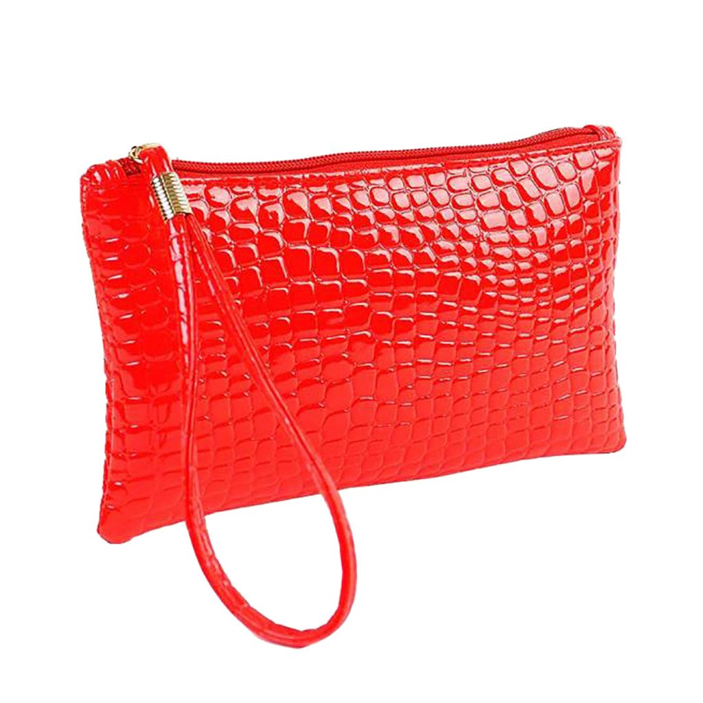 ❤️Sunbona Card Holder Wallet for Women Crocodile Leather Clutch Handbag Bag Coin Purse Card Holder Crossbody Bags (Red)