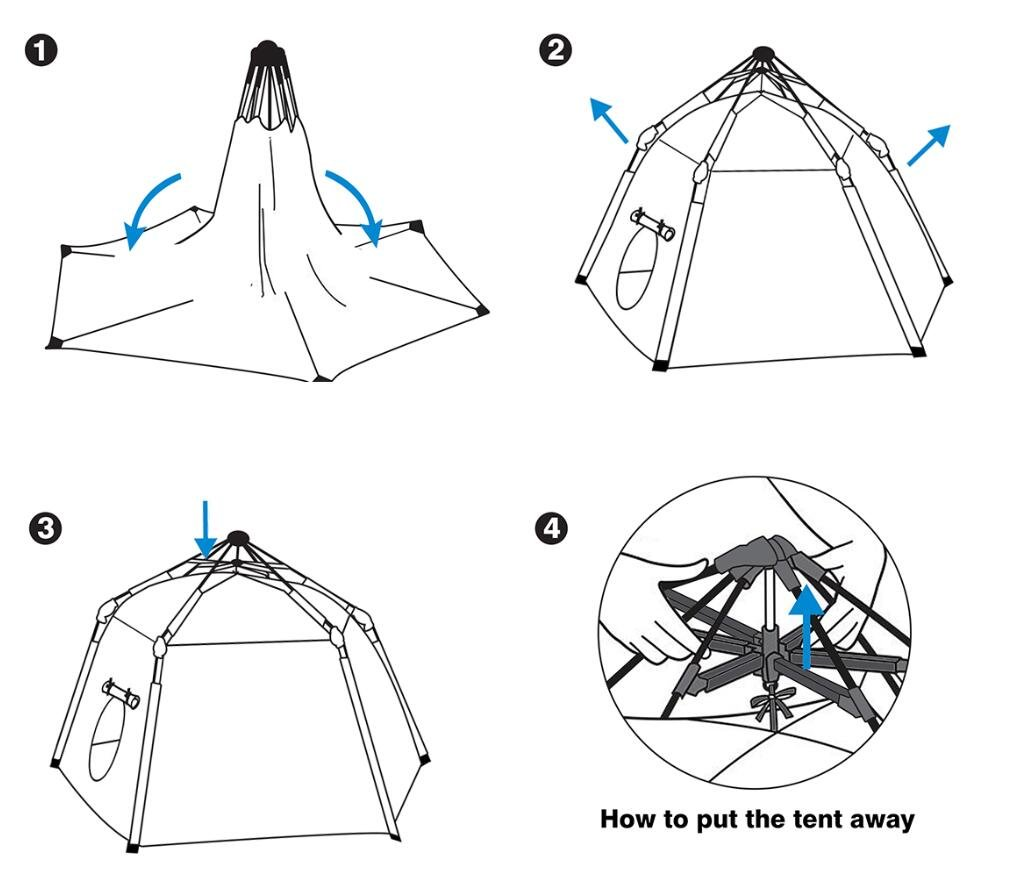UTEX Automatic Instant 6 Kids Play Tent for Indoor/ Outdoor Fun,Kids Beach Tent Sun Shelter with Zippered Mesh Front, Camping Playhouse Indoor Playground, 66'' x 66'' x 44''(Sea Cabana) by UTEX (Image #5)
