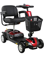 FOXTR 1 Portable Mobility Scooter with Ultra Suspension, 4 Wheel Travel Scooter, Red, Compact Fits in Trunk of Car, Extra Large Basket, Sliding Adjustable Seat