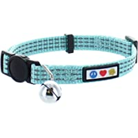 Pawtitas Pet Reflective Cat Collar with Safety Buckle and Removable Bell Teal