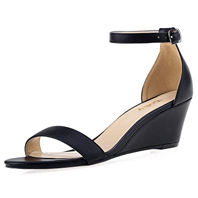 f7940c08fb ZriEy Women's Low Heel Wedge Sandals Ankle Strap Buckle Mid Heeled Sandals  2 Inch Party Wedding