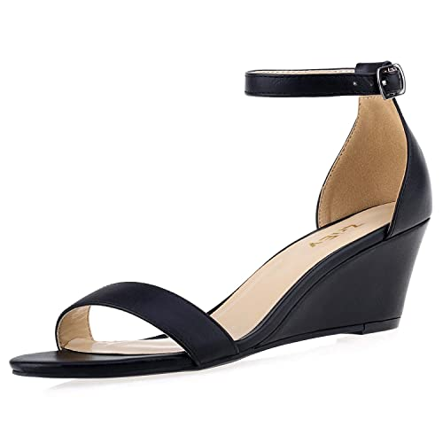 39abd58a60804 ZriEy Women's Ankle Strap Buckle Mid Wedge Platform Heeled Sandals 8CM  Summer Dress Sandals Pump Shoes
