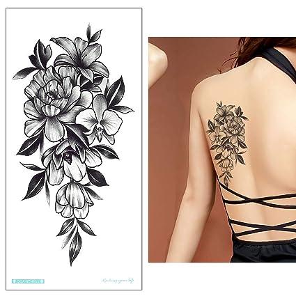 5 Sheets Flores tatuaje adhesivo Fake Tattoo Negro y multicolor ...
