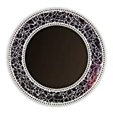 DecorShore 24-Inch Round Crackled Glass Mosaic Wall Mirror, Brown