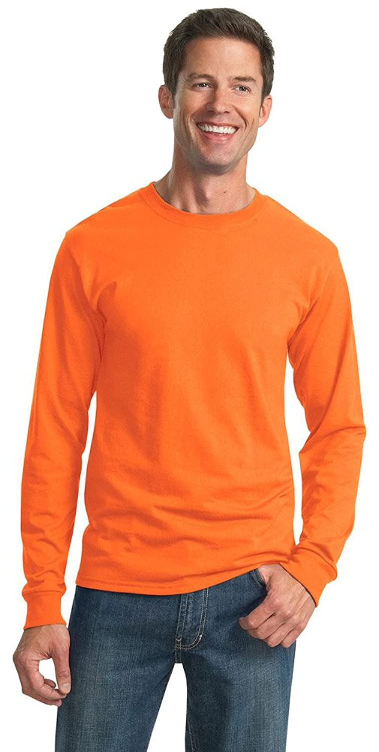 JERZEES Mens Heavy Blend Cotton/Poly Long Sleeve T-Shirt, Small, Safety Orange