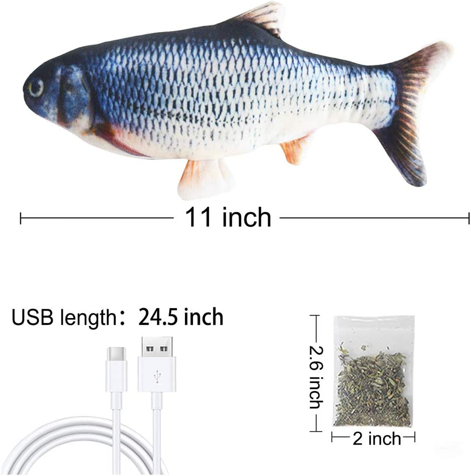 Perfect for Biting Malier 2 Pack Electric Fish Cat Toy Realistic Plush Moving Wagging Fish Cat Toys Simulation Interactive Cat Kitten Toys for Indoor Cats Pets Kitten Chew and Kicking Catfish+Carp