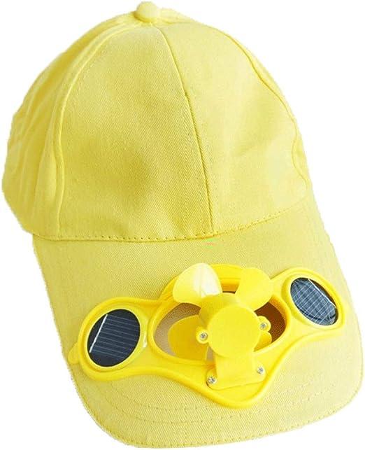 AIAIⓇ Ventilador de enfriamiento de Gorra de Sombrero de energía Solar Solar al Aire Libre de Verano para el Deporte de béisbol de Golf - Amarillo: Amazon.es: Hogar