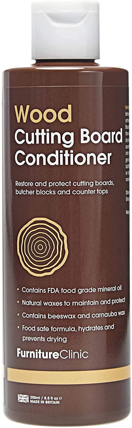Furniture Clinic Cutting Board Conditioner - Food Grade Mineral Oil to Restore and Maintain Your Chopping Boards, Mineral Oil for Cutting Boards (250 ml)