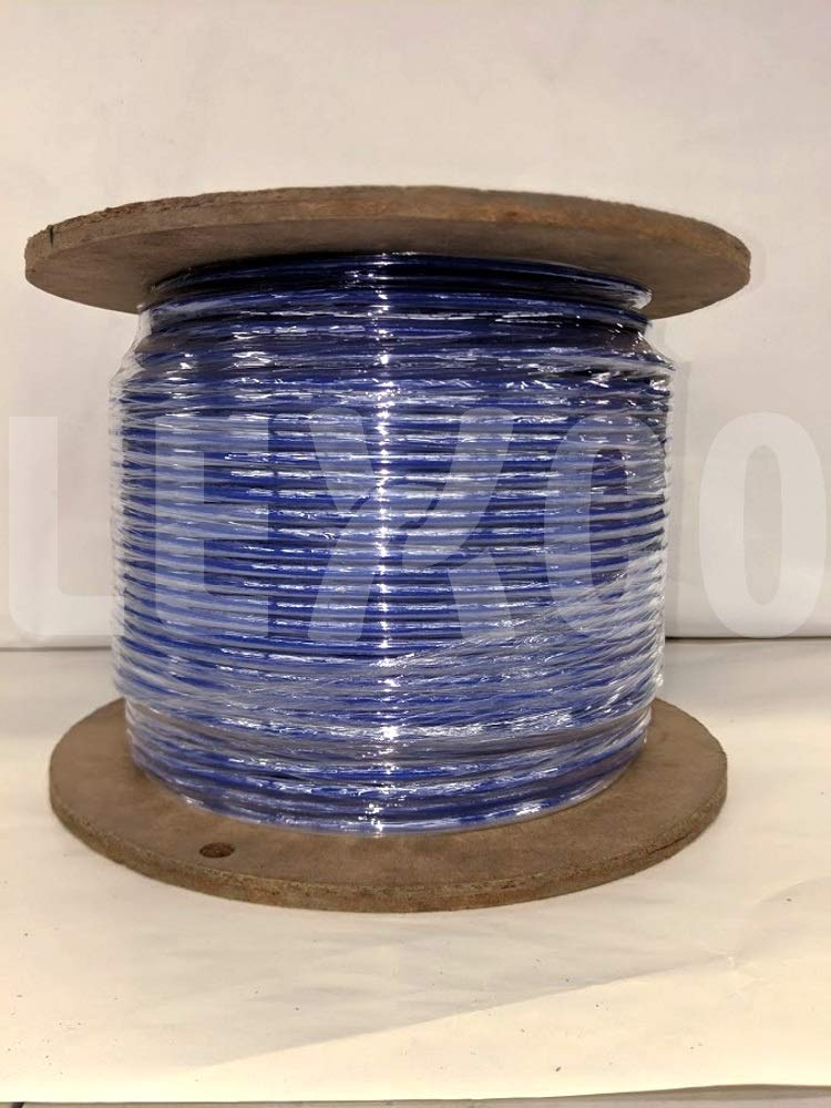 Lexco Cable 187316CCSB 250' Spool of 3/16'' Solid Blue PVC Coated 1/8'' 7x7 Galvanized Wire Rope by Lexco Cable