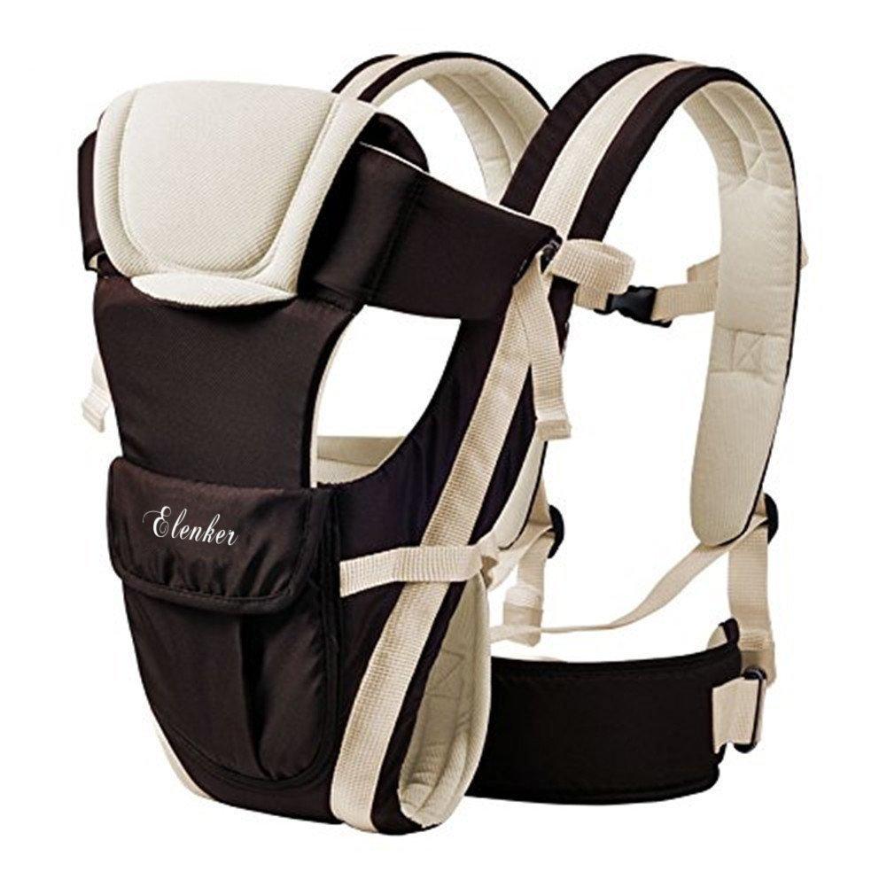 ELENKER Porte-bébé Multifonctionnel avec 4 Façon de Porter Tissu Respirant Réglable Confortable Sangle(3-18KG,0-30Mois)Beige 0-30Mois)Beige