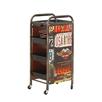 Amazon.com : MJHY Retro Hairdresser Beauty Trolley Trolley Barber Shop Dyeing Tool Car Hair Salon Trolley Bar Four Floors, Bronze : Beauty