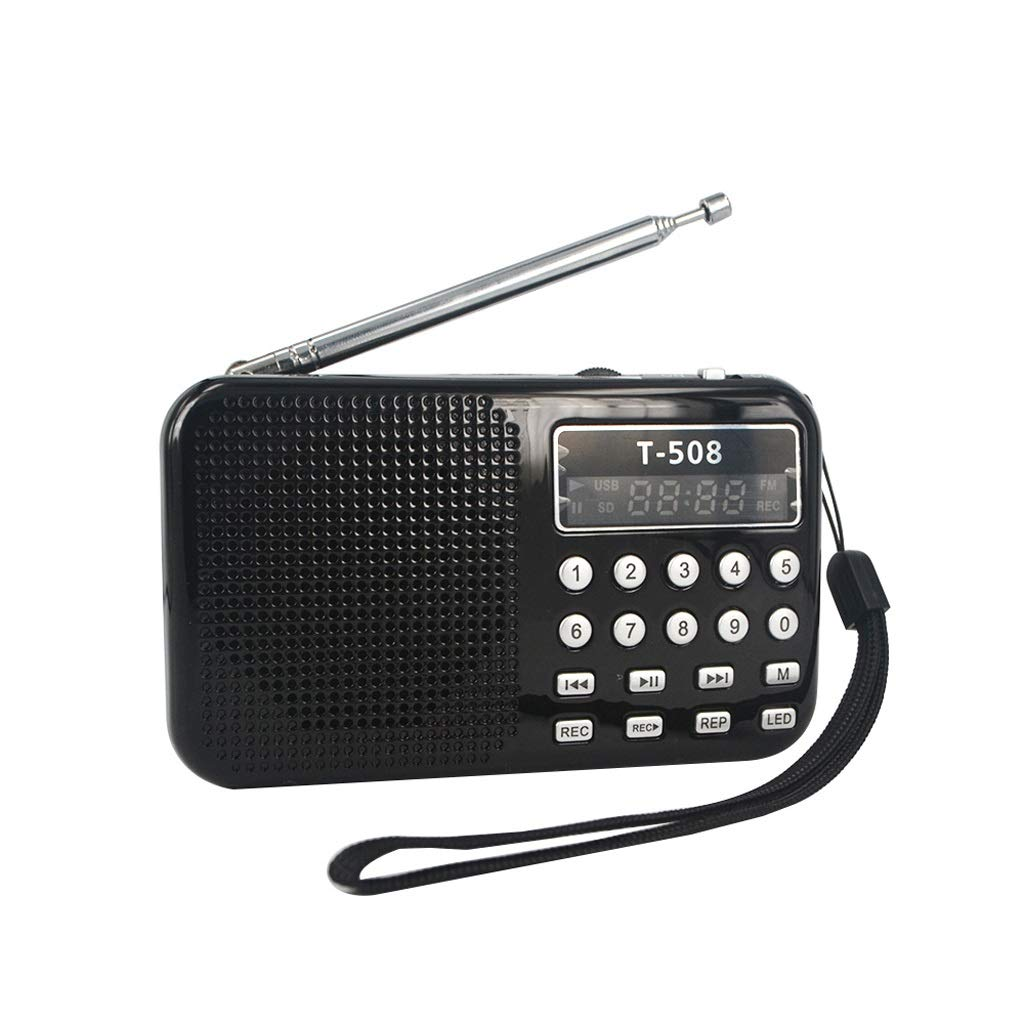 ZWS Radio LED Stereo FM Radio Speaker USB Port TF Card MP3 Music Player with 50mm Internal Magnetic Current Affairs Information (Color : Black)