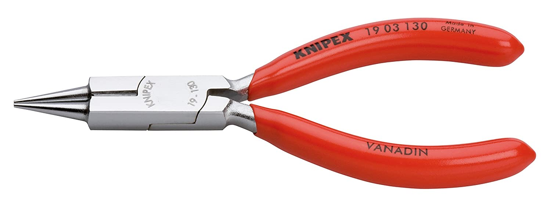 KNIPEX 19 03 130 Rundzange mit Schneide (Schmuckbiegezange) verchromt mit Kunststoff ü berzogen 130 mm