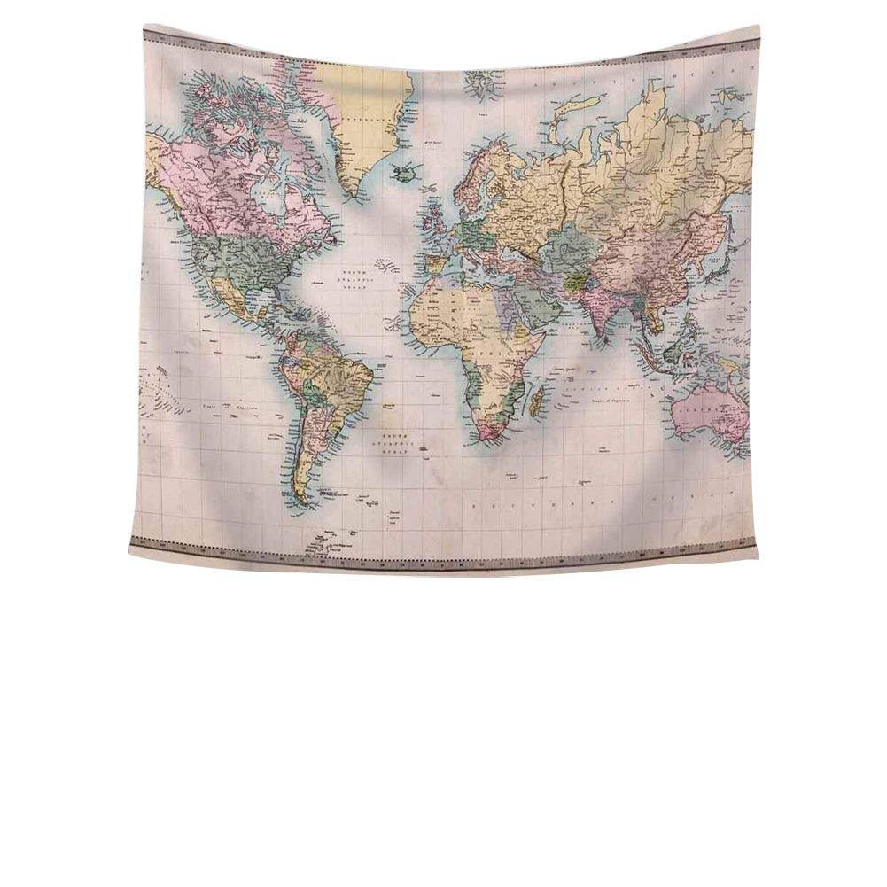 Chengsan Educational Colorful World Map Wall Tapestry Hanging - Polyester Fabric Wall Art Tapestries Home Decor Tapestry 59x78 inch