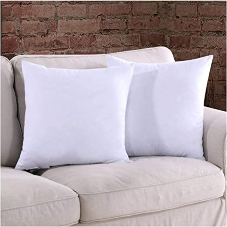 Homelike Moment 18x18 Feather Down Pillow Inserts Square Couch Throw Pillow Insert Set Of 2 18 X 18 100 Cotton Fabric Home Kitchen