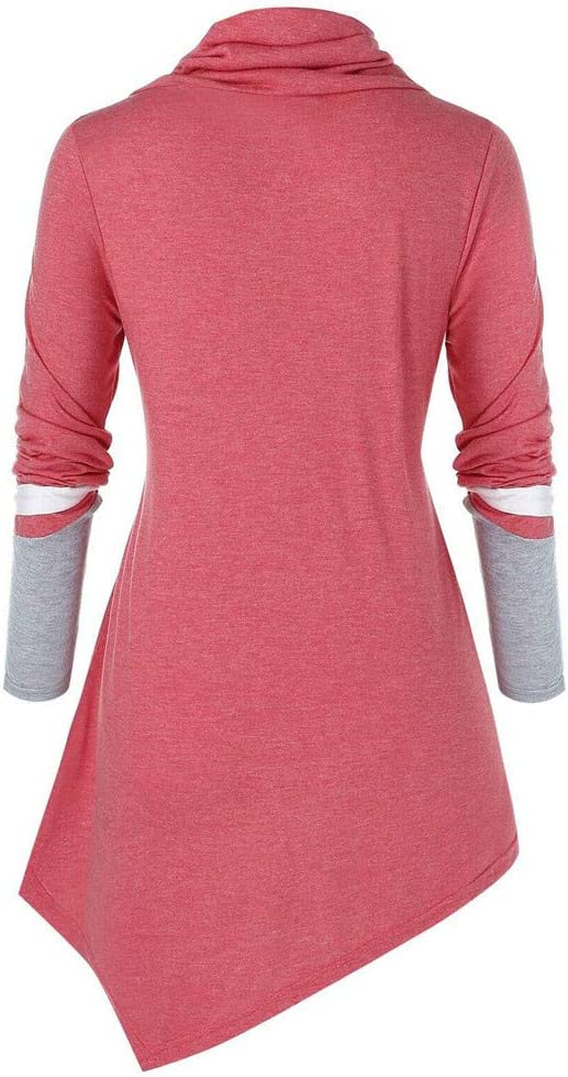 RUIVE Women/'s Large Size Tops Turtleneck Fall Button Striped Print Irregular Large Size Blouse Ladies Loose Sweatshirt Black