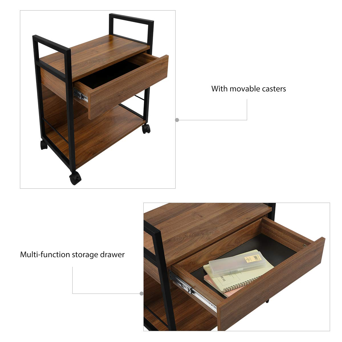 WLIVE Mobile Printer Stand, Office Serving Cart, Computer Side Table Machine Cart Stand with Storage Drawer for Home Office by WLIVE (Image #4)