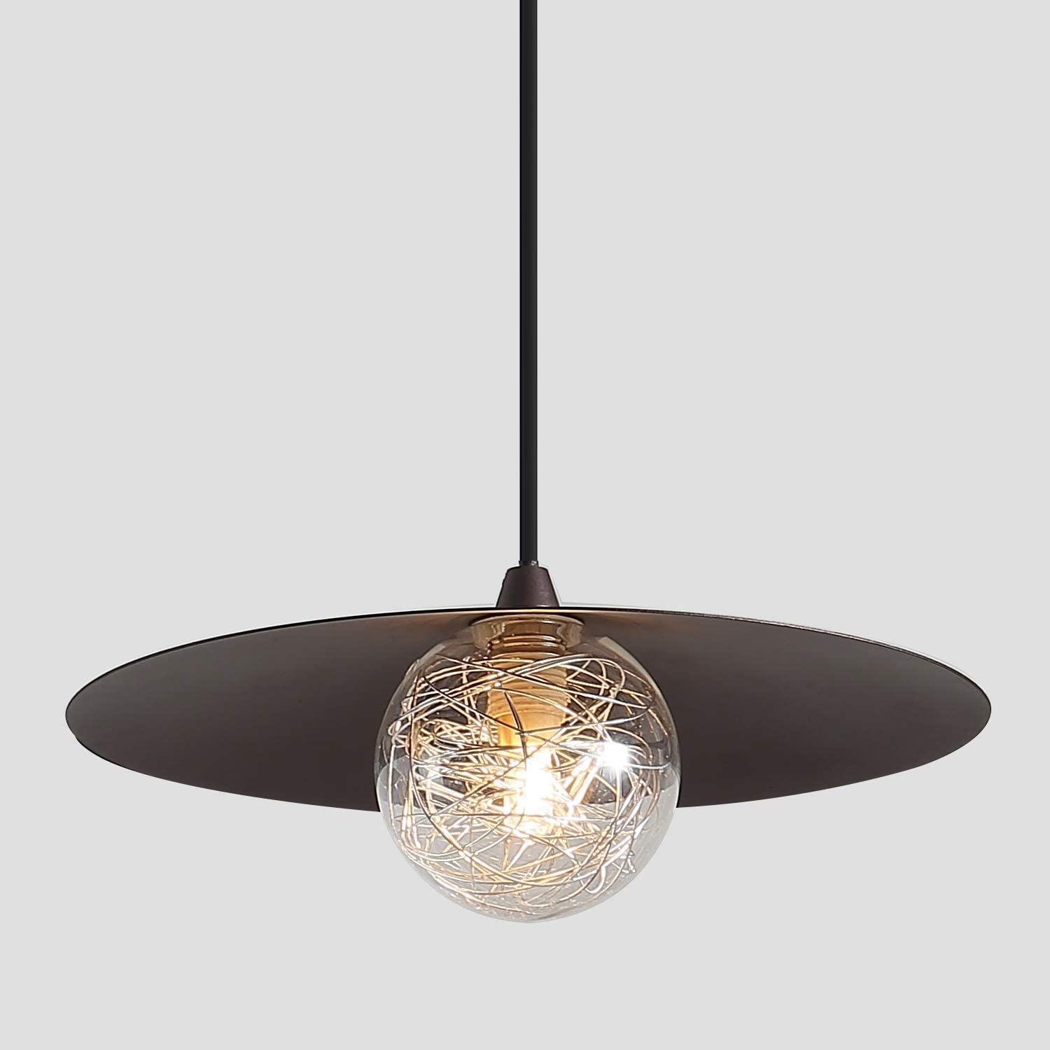 Modern Mini Pendant Lighting with Bulbs, Oil Rubbed Bronze, 1 Light Clear Glass Aluminum Wire Inner Shade Industrial Hanging Light Fixture for Kitchen Island Bar
