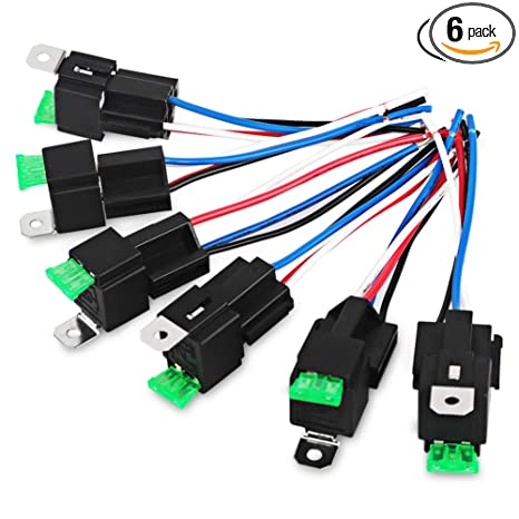 VANING 6 Pack 30A Fuse Relay Switch Harness Set 14 AWG Hot Wires- 4-Pin on
