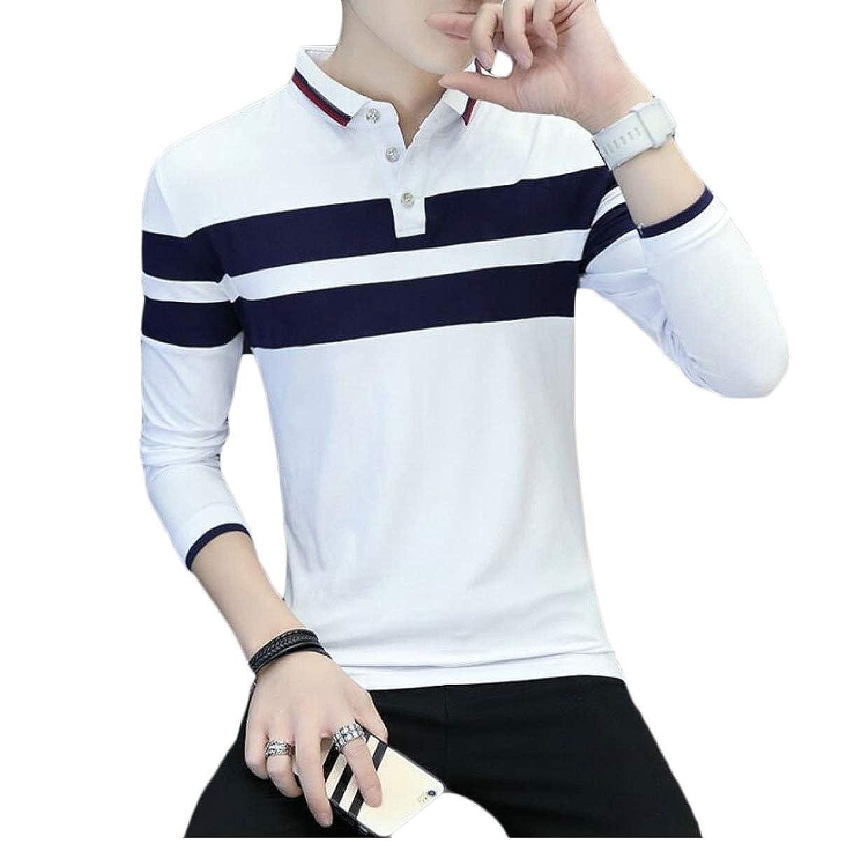 CBTLVSN Mens Casual Tops Long Sleeve Lapel Collar Stripe Polo Shirt Blouse