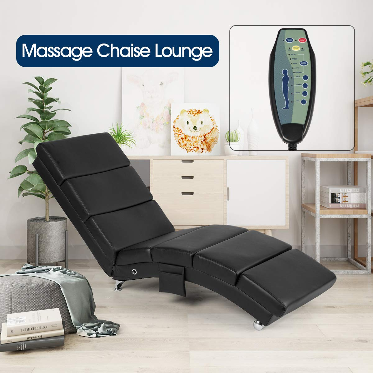 AECOJOY Massage Chaise Lounge Couch Black Modern Indoor Chaise Lounge Chair Living Room Chaise Lounger with Vibration Heat Fuction by AECOJOY