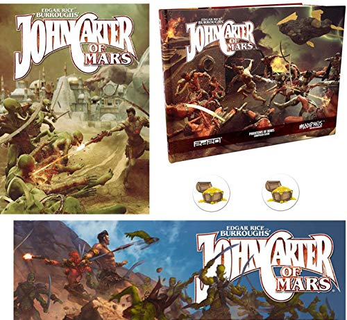 Bundle of John Carter of Mars RPG Core Rulebook and Phantoms of Mars Sourcebook and Narrator's Toolkit GM Screen and 2 Treasure Chest Buttons