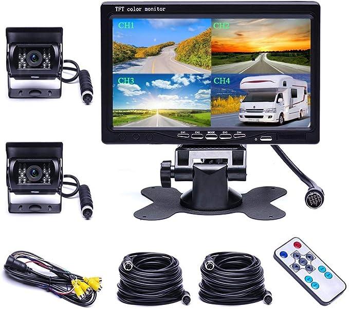 camecho Dual Backup c/ámara 4/Split Monitor Trasera c/ámara Auto 18/IR de visi/ón Nocturna Impermeable Aviation 4/Pins Conector 33/ft Cable para Camiones//caravanas de//Trailer//Front