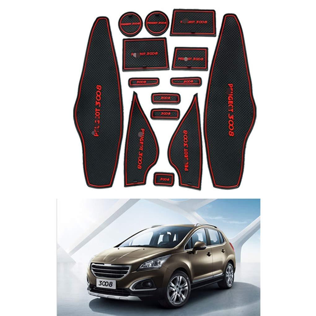 AUWU 14pcs/Set Car Door Slots Pad Gate Armrest Storage Grooves Mat Replacement for Peugeot 3008