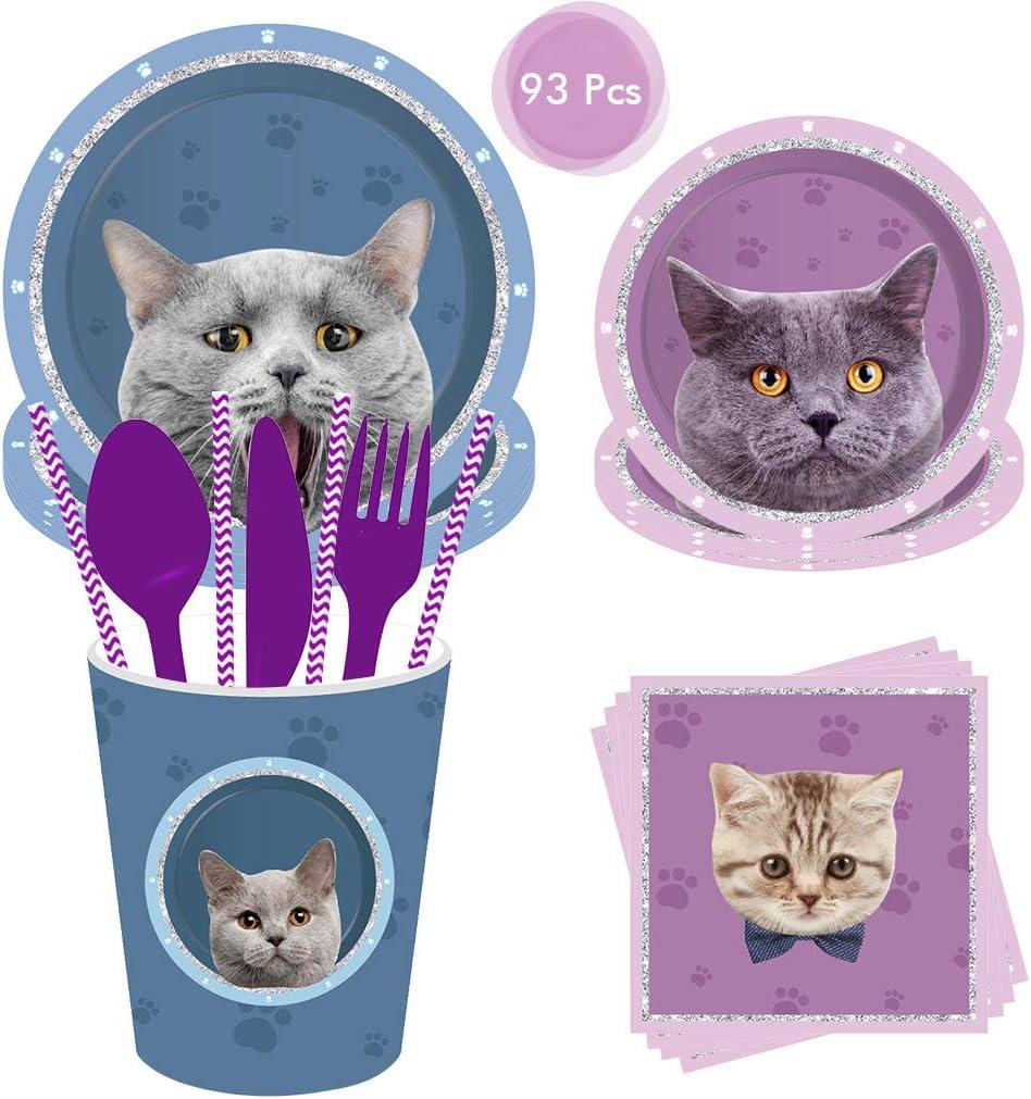 DreamJing - Juego de vajilla de Fiesta para 8 Personas (93 Piezas, para Fiestas de Gatos), diseño de Mascotas, Color Morado y Azul