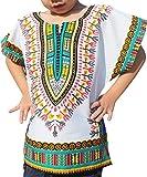 Raan Pah Muang RaanPahMuang Unisex Bright African White Children Dashiki Cotton Shirt, 10-12 Years, verdigris Blue White