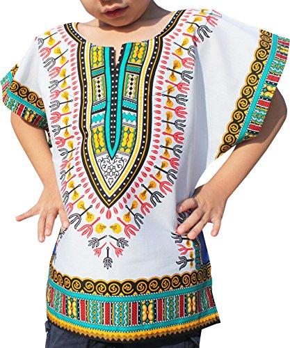 Raan Pah Muang RaanPahMuang Unisex Bright African White Children Dashiki Cotton Shirt, 3-6 Years Tall, verdigris Blue White