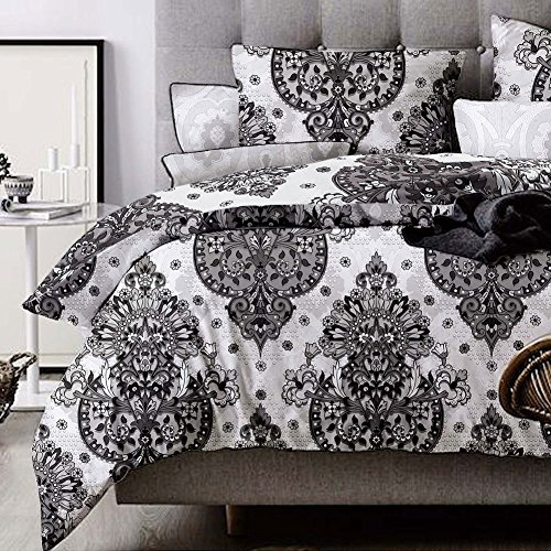 Bohemian Paisley Queen Duvet Cover Set , Floral Flower Mandala Bed Cover, 3 Piece Lightweight Microfiber Down Comforter Quilt Cover with Zipper Closure, Ties - Best Boho Style for Men - White Black Tie Collection Flowers