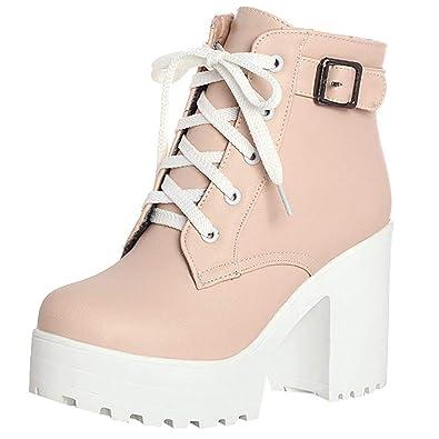 YE Botte Plateforme Lacet Femme avec Boucle Bottines Talons Haut Bloc Ankle  Boots Woman Chaude Courtes 546aaa4472c9