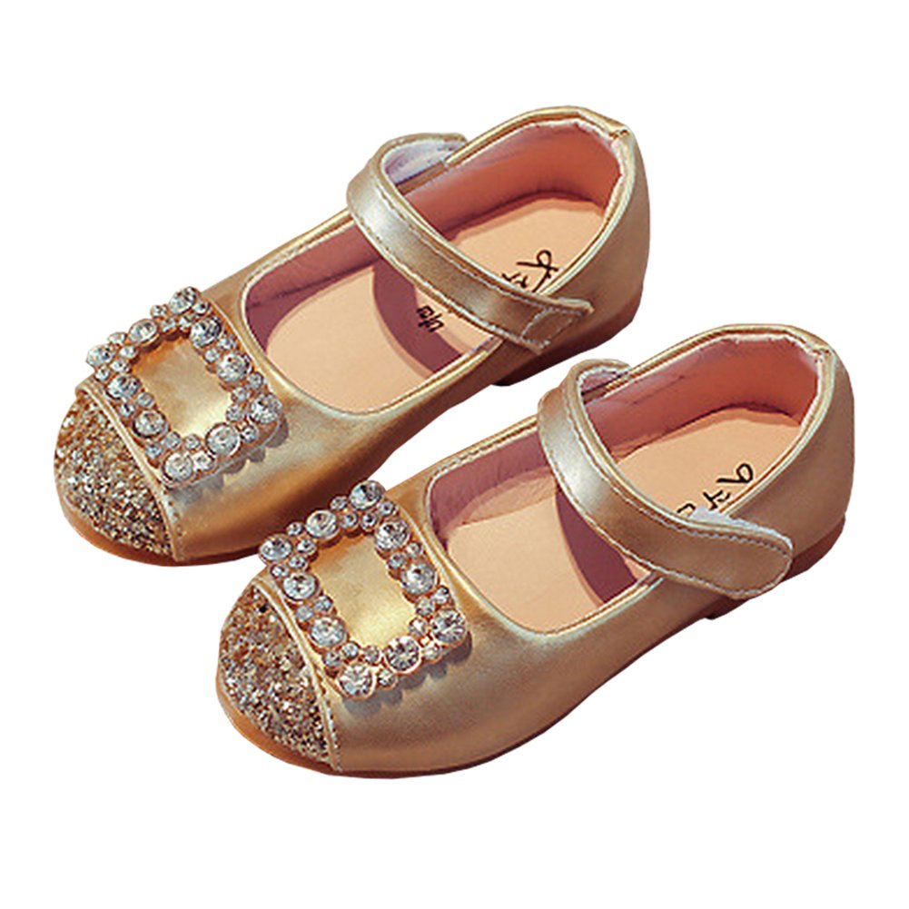 LINKEY Toddler Girls Square Rhinestone Buckle Ballet Flat Dress Shoe Princess Mary Jane Golden Size 24