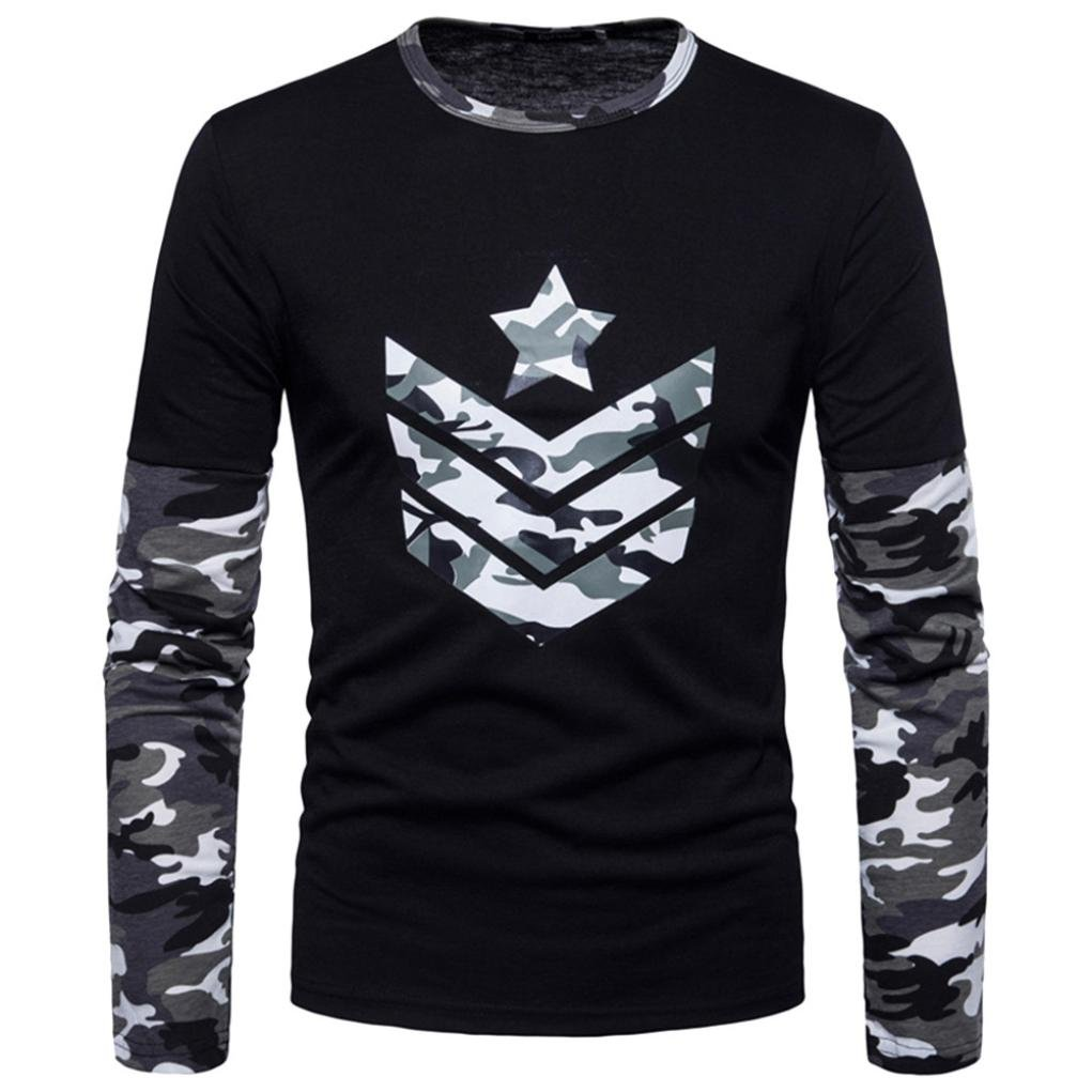 Clearance Sale Mens T Shirts vermers Fashion Mens Autumn Camouflage Print Joint Long Sleeve Sweatshirts Top Blouse(2XL, Gray)