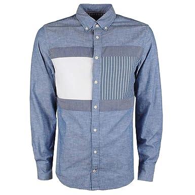 19ff7593 Tommy Hilfiger Men's Regular Fit Chambray Flag Patch Shirt Indigo XL ...