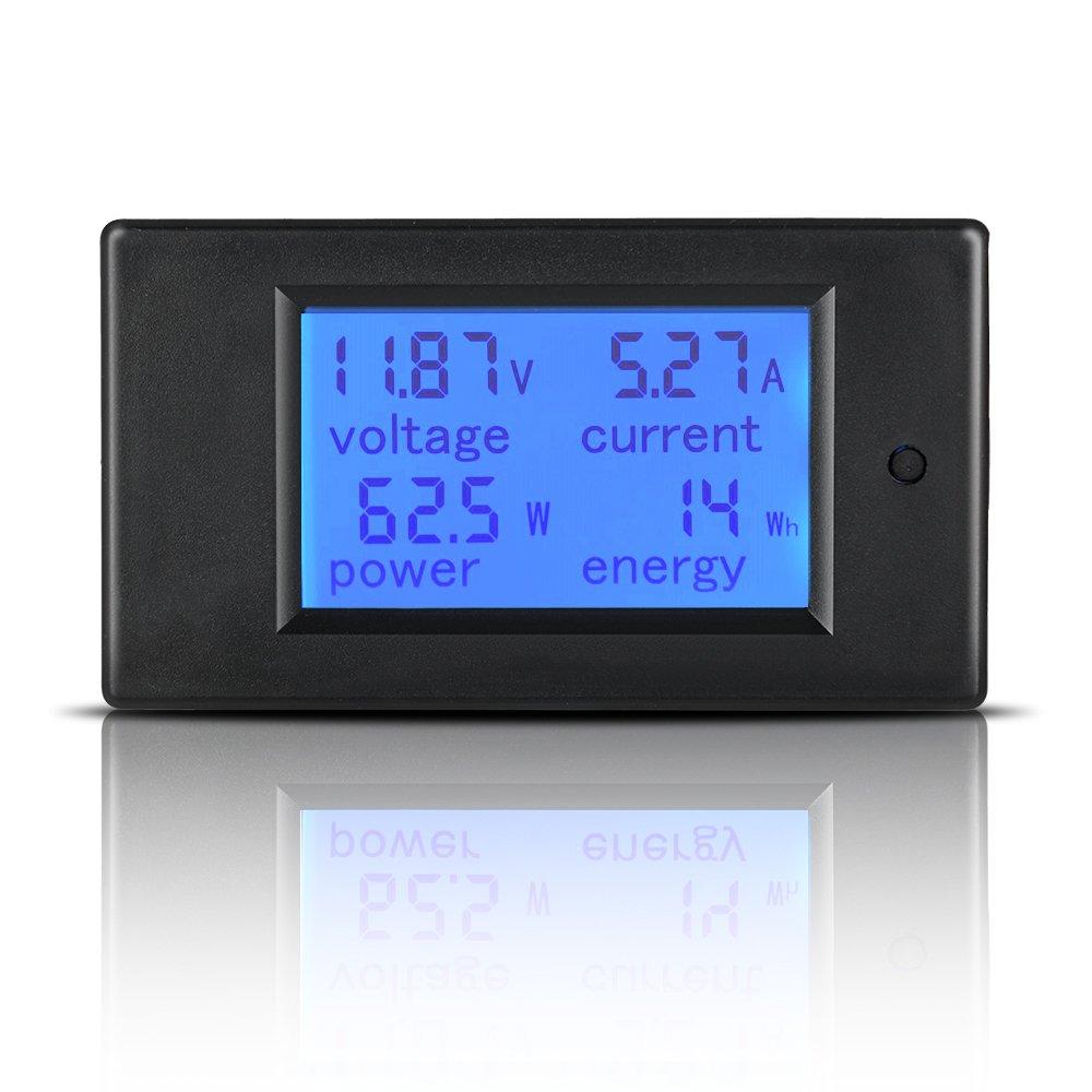 100/A LCD amp/érage M/ètre /à /énergie DC Volt Amp Test Jauge de moniteur LCD r/étro-/éclairage bleu Affichage num/érique avec 100/& DC 6.5 100/V 0 Mictuning multim/ètre num/érique