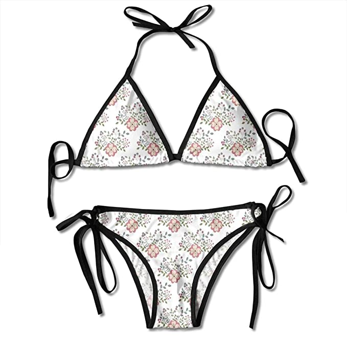 494cb4caeecc0 Women's Swimsuit Two Pieces Bikini Set, Pastoral Idyllic Greenery with Lily  Bouquet Flowering Field Meadow
