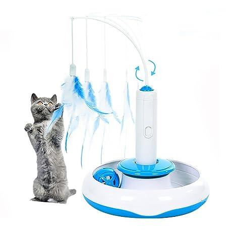 Juguete de Gato, moonlux Juguete Interactivo Eléctrico para Gato con Movimiento Giratorio de Pluma y