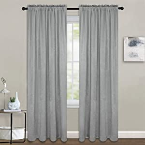 Melodieux Grey Velvety Semi Sheer Curtains 96 Inches Long for Bedroom, Living Room Elegant Soft Texture Rod Pocket Voile Drapes, 52 by 96 Inch (2 Panels)