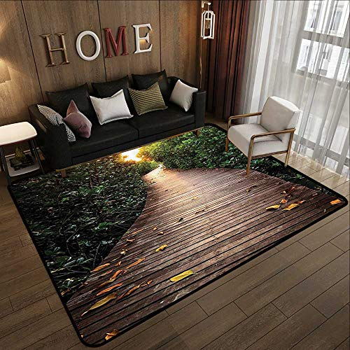 Truck mats,Outdoor Nature,Boardwalk in Mangrove Forest Sunlight Tunnel Sunset Autumn Golden Leaves,Green Brown 47