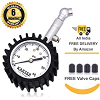 KARTER SUPER PRODUCTS Tyre Pressure Gauge Large 2-inch Dial with Integrated Hold/Deflator Functions 0-60PSI for Car, SUV and Bike