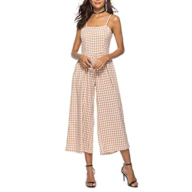 429b6200cee Image Unavailable. Image not available for. Colour  iShine Women s Jumpsuits  Sleeveless Halter Elastic Waist Plaid ...