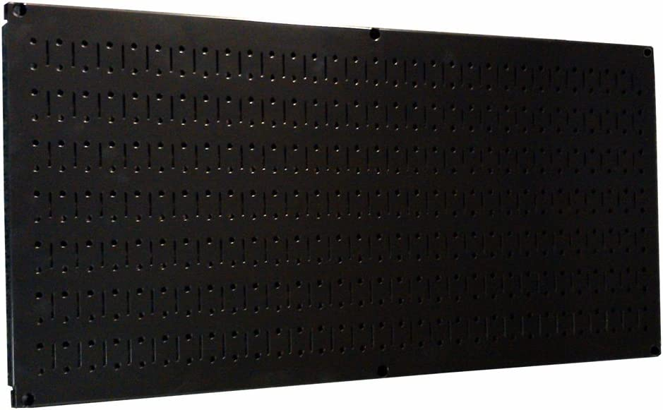 Wall Control Pegboard 16in x 32in Horizontal Black Metal Pegboard Tool Board Panel