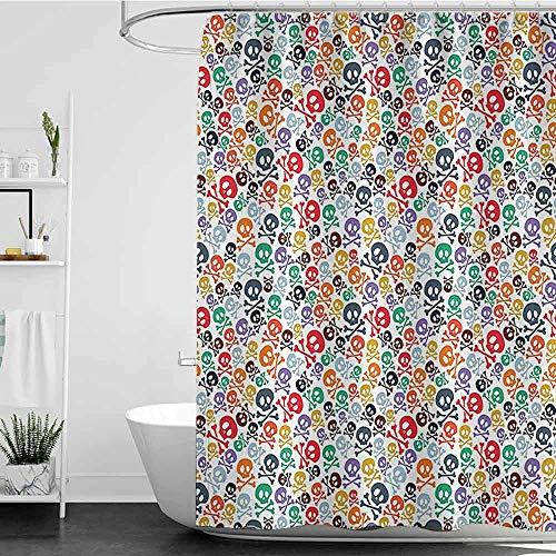 Denruny Shower Curtains Tumblr Skulls Decorations,Halloween Theme Colorful Skulls and Crossbones W72 x L72,Shower Curtain for Shower stall -