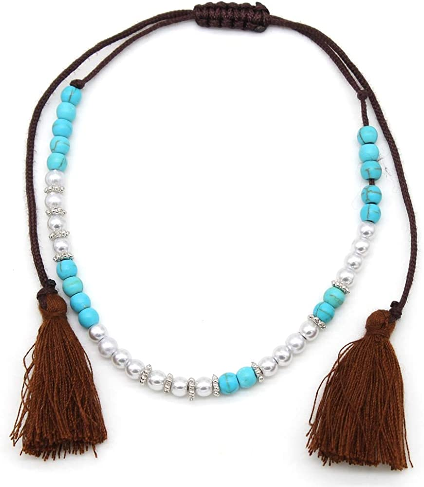 Longueur r/églable Collants Musthaves Bracelet de cheville pour femme avec perles et pompons
