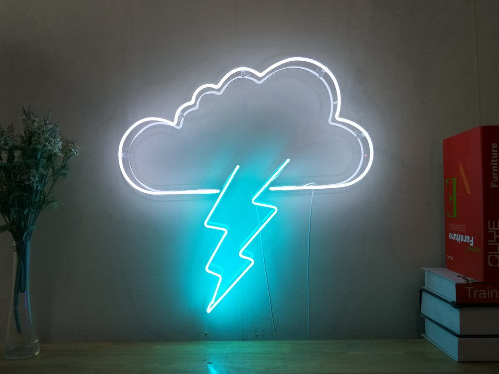 Thunderbolt Lightning Bolt Real Glass Neon Sign For Bedroom Garage Bar Man Cave Room Home Decor Handmade Artwork Visual Art Dimmable Wall Lighting Includes Dimmer